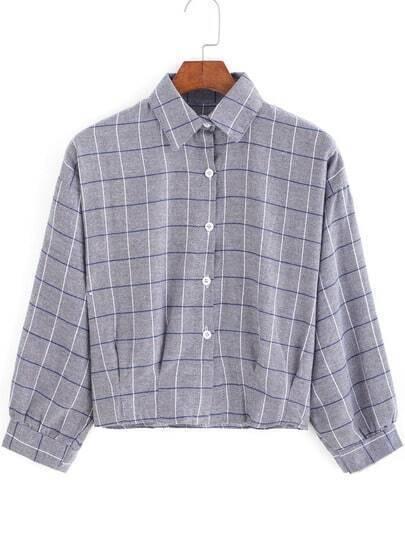 Grey Lapel Plaid Checks Checkered Crop Blouse