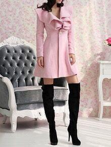 Pink Lapel Single Button Ruffle Woolen Coat