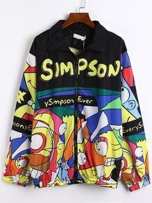 Multicolor Lapel Simpson Print Zipper Coat