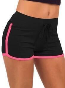 Black Drawstring Contrast Trims Sport Shorts