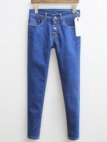 Blue Single breasted Denim Pant