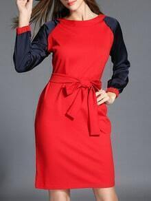 Red Contrast Sleeve Bow Dress