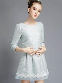 Pale Blue 3/4 Sleeve Contrast Lace Combo Dress