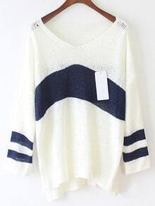 Color-block V Neck Dip Hem Striped Sweater