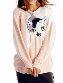 Pink Cat Print Shaggy Sweater
