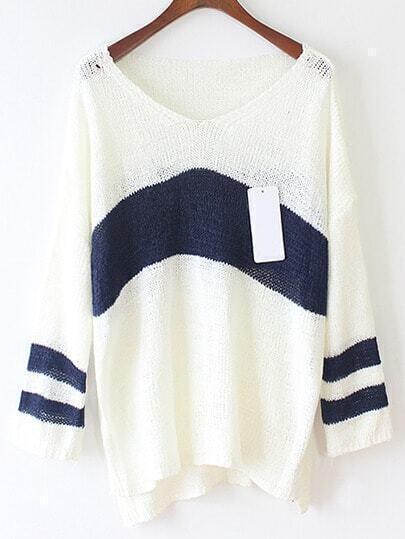 Color-block V Neck Dip Hem Striped Sweater