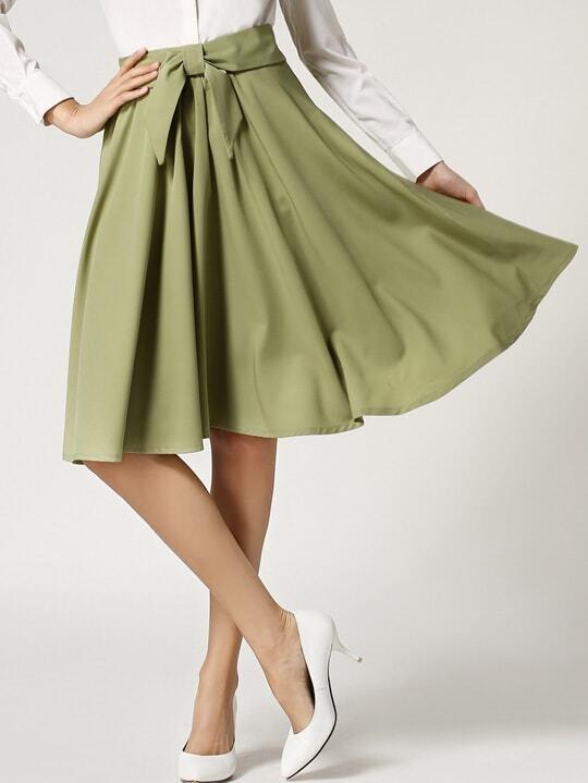 Army Green Elastic Waist Bow Pleated Skirt