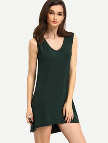 Green Minis Sleeveless Vest Casual Dress