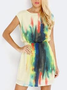 Multicolor Cap Sleeve Dress