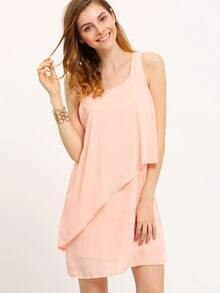 Pink Neutral Poplin Sleeveless Ruffle Dress