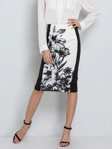 Black Floral Color Block Skirt