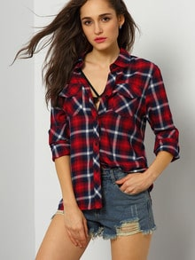 Red Long Sleeve Plaid Blouse
