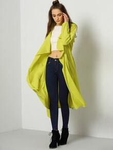 Yellow Long Sleeve Pockets Trench Coat