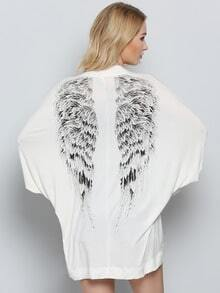 Beige Long Sleeve Wings Print Kimono