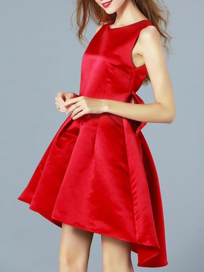 Red Round Neck Sleeveless Bow High Low Dress