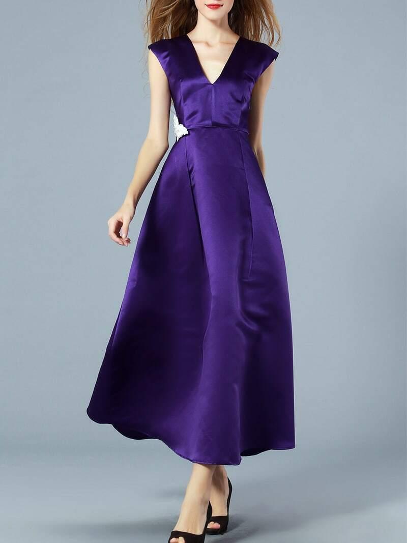 Purple V Neck Sleeveless Bow Beading Dress