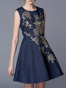 Navy Round Neck Sleeveless Embroidered Denim Dress