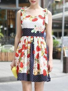 Multicolor Round Neck Sleeveless Floral Print Dress