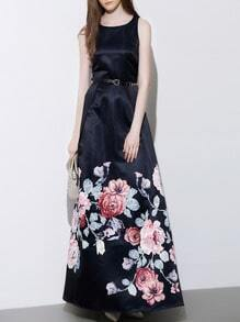 Navy Round Neck Sleeveless Drawstring Floral Print Dress