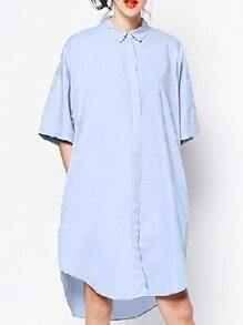 Blue Short Sleeve High Low Shirt Dress