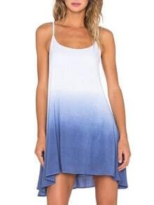 Color-block Spaghetti Strap Tie-dye Trapeze Dress
