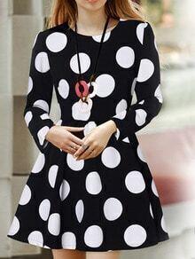 Black Long Sleeve Polka Dot Dress