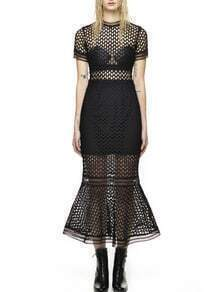Black Short Sleeve Lace Hollow Mermaid Dress