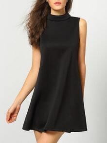 Black Cutaway Turtleneck Sleeveless Zipper Shift Dress