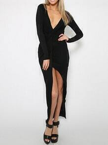 Black Deep V Neck Slit Knotted Dress