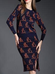 Navy Kangaroo Print Knit Top With Slit Bodycon Skirt