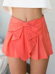 Red Bow Ruffle Zipper Shorts