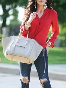 Red V Neck Button-Down Blouse