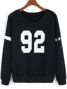 Black Round Neck Stars 92 Print Sweatshirt