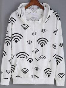 White Hooded WIFI Print Loose Sweatshirt