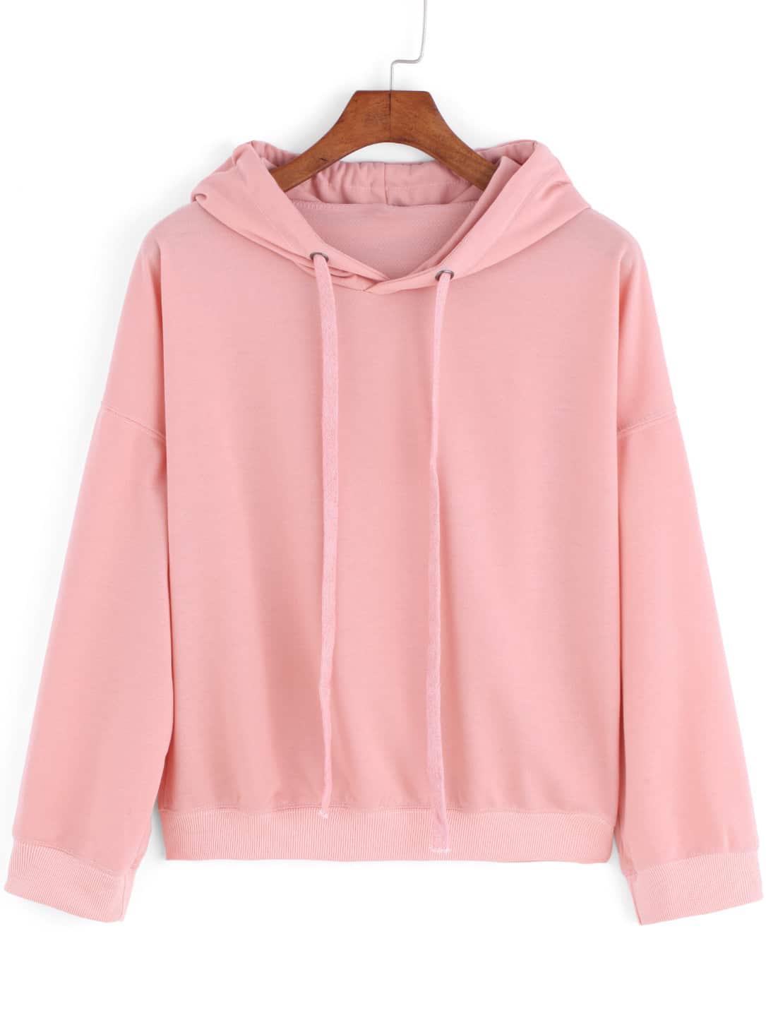 Pink Hooded Drawstring Loose Crop Sweatshirt -SheIn(Sheinside)