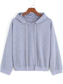 Grey Hooded Drawstring Loose Crop Sweatshirt