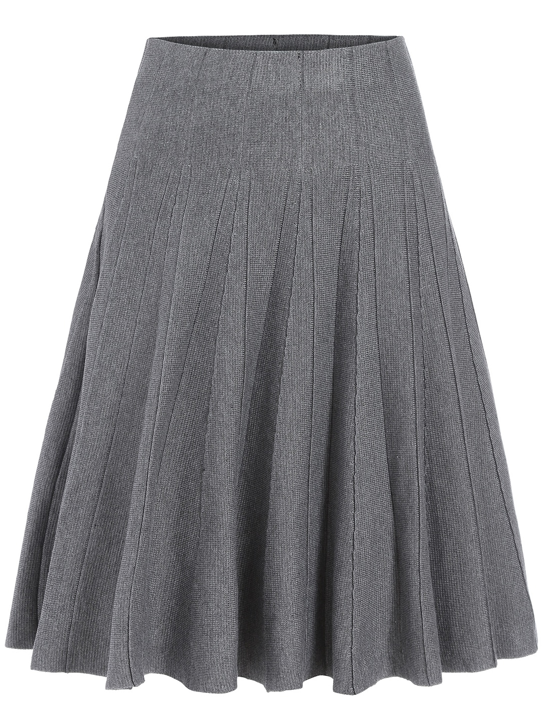 Grey High Waist Pleated A Line Skirt