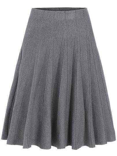Grey High Waist Pleated A Line Skirt