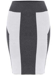 Colour-block Slim Bodycon Skirt