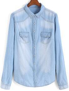Blue Lapel Long Sleeve Bleached Denim Blouse