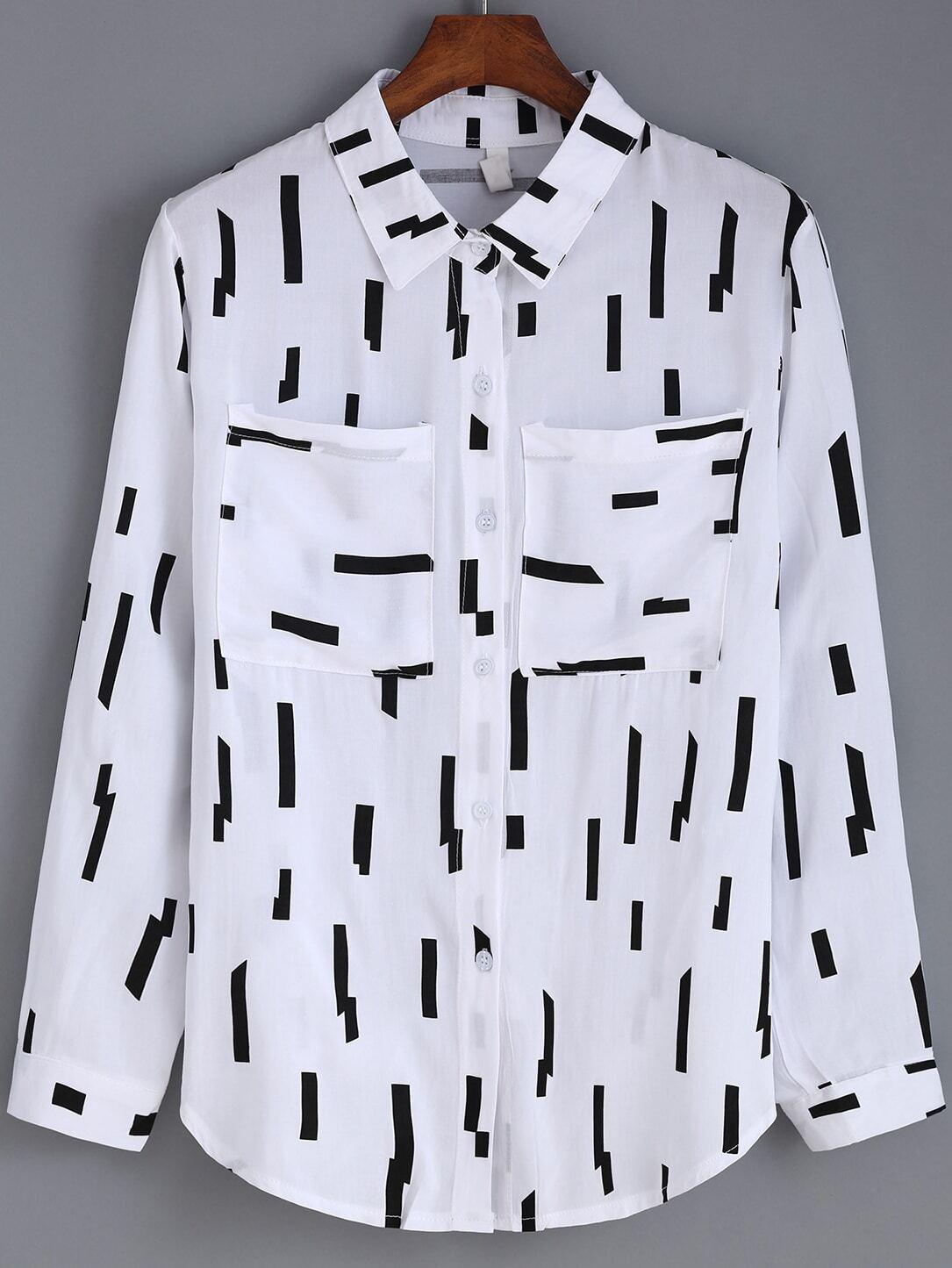 Black White Lapel Line Print Pockets Blouse