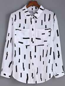 Black White Lapel Line Print Pockets Blouse