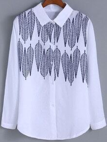White Lapel Leaves Embroidered Loose Blouse