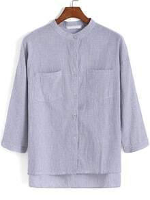 Grey Stand Collar Vertical Stripe Pockets Blouse