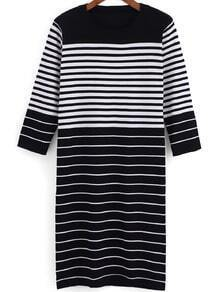 Black White Round Neck Striped Straight Dress