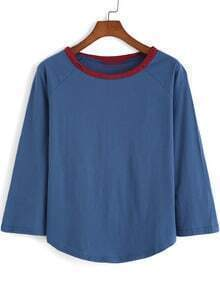 Blue Contrast Collar Ripped Loose T-Shirt