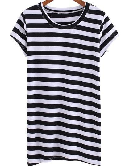 Black White Round Neck Striped Long T-Shirt