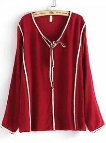 Red Tie-neck Contrast Trims Loose Blouse