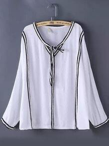 White Tie-neck Contrast Trims Different Typical Bowtie Collared Loose Blouse