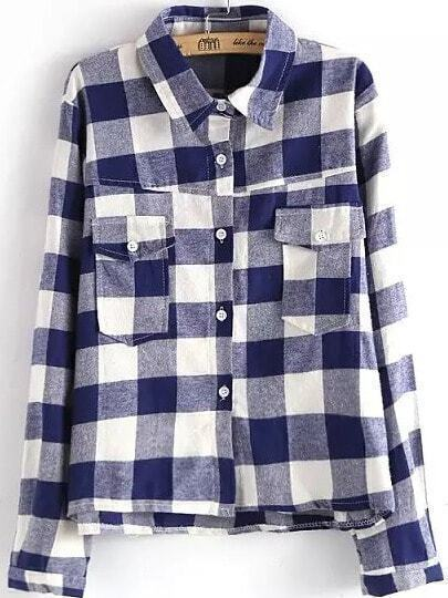 Blue White Lapel Checker Plaid Pockets Blouse